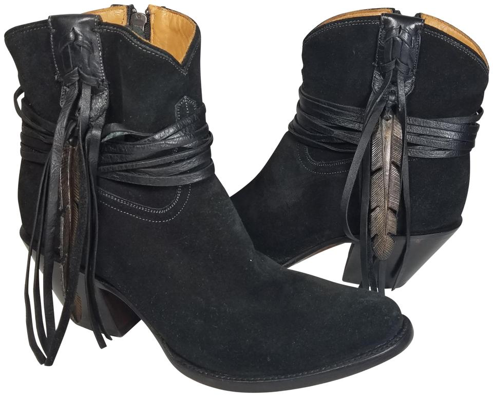 5a538b97552bd Lucchese Black Robyn Hand Tooled Feather Suede Ankle Boots/Booties Size US  9.5 Regular (M, B)