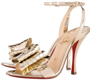 Christian Louboutin Bow Bow Heels Abstract Gold Sandals