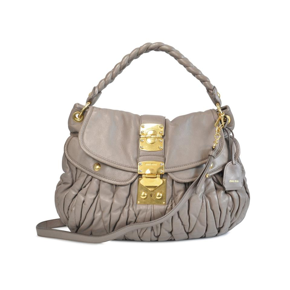 Miu Miu Matelassè Lux Nappa Coffer Taupe Leather Hobo Bag - Tradesy c740331d6d871