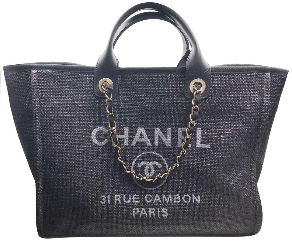 2a6d53e18 Chanel Deauville Bag 2019 Large Navy Cloth Leather Tote - Tradesy
