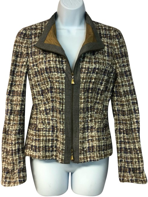 Item - Brown Zip Front Boucle Wool Mohair Blend Jacket 36 Blazer Size 6 (S)