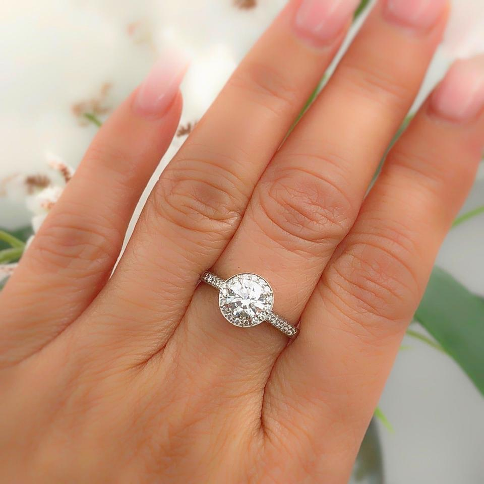 2c5a414d0 Tiffany & Co. G Vvs1 Box Soleste Platinum Round Diamond 1.11 Tcw Papers Engagement  Ring ...