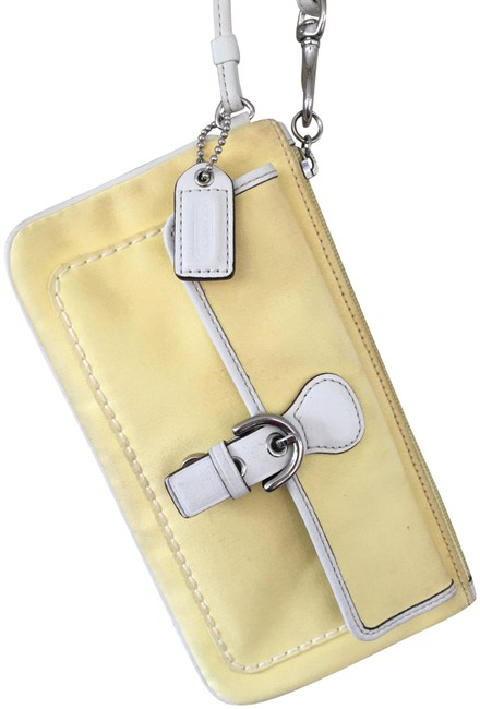 Item - Fabric White Leather Piping Zipper External Buckle Yellow Canvas Wristlet