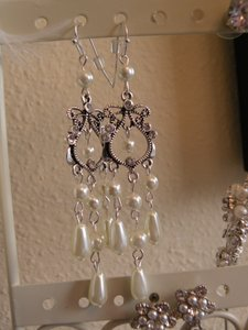 Vintage Teardrop Pearl And Rhinetstone Chandelier Earrings