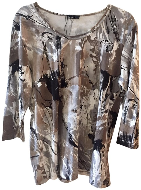 Item - Tan Black White Gray Splatter Print Blouse Size 14 (L)