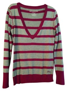 Aéropostale Free Shipping Size L Striped Vneck Cotton L 12 14 Womens Fuscia Soft Like New Ladies Hot Striped Cotton Stretch V Sweater