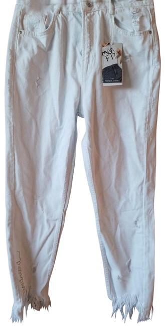 Item - White New Rise Mom Jeans with Rips Pants Size 4 (S, 27)