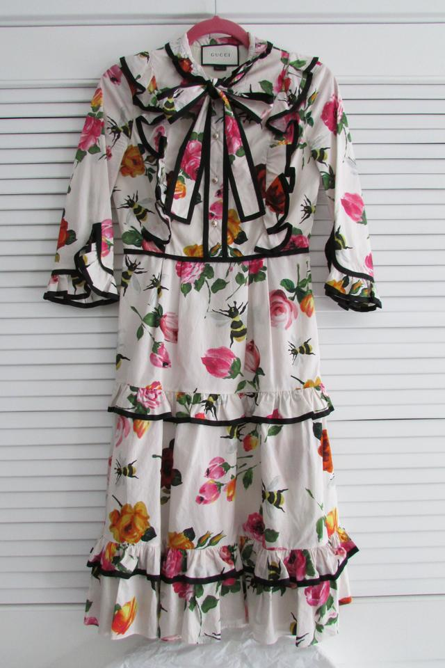 1b3ee756c Gucci Roses Bees Floral Print Cotton Poplin Ruffle Mid-length Cocktail Dress  Size 0 (XS) - Tradesy