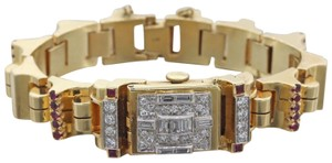 Marvel Antique Art Deco Marvel 14k Yellow Gold Diamond Ruby Bracelet Watch C
