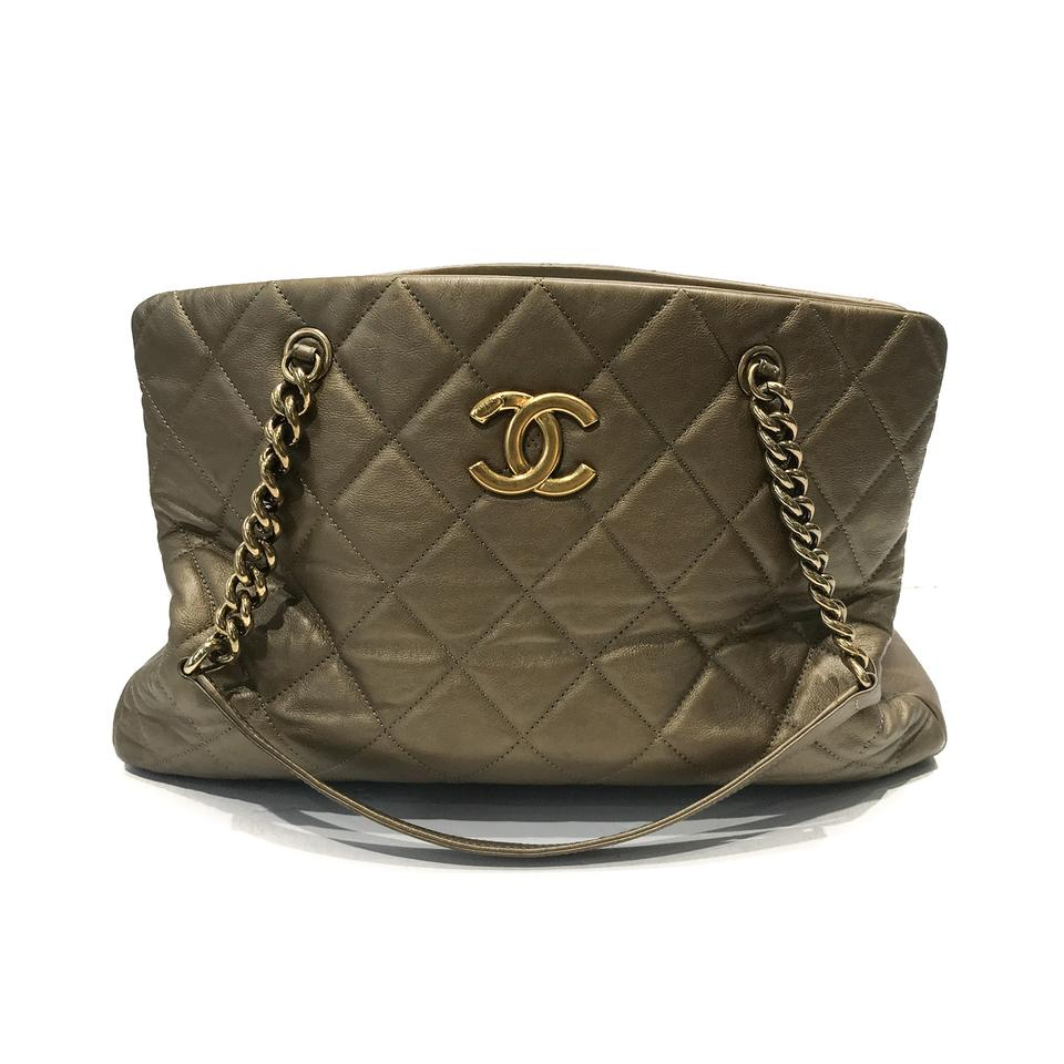 670c2fd051d16 Chanel Calfskin Cc Crown Gold Leather Tote - Tradesy