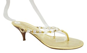 Chanel Strap Thong Cc Charm Gold Sandals