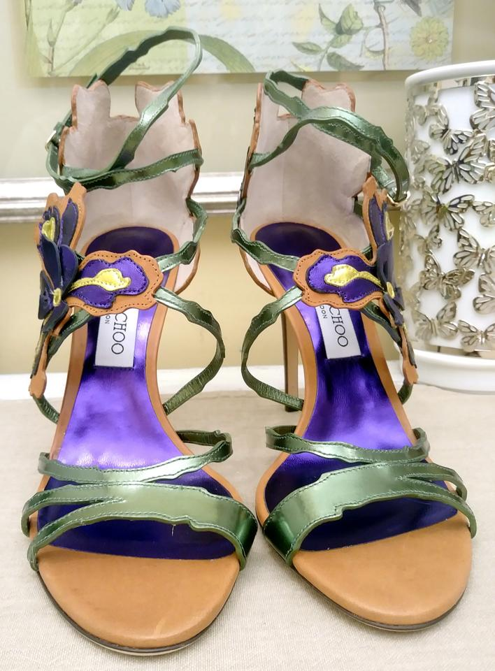 744f2de6a92a Jimmy Choo Purple Lolita Canyon Mix Iris Appliquéd Metallic Sandals Size EU  39.5 (Approx. US 9.5) Regular (M