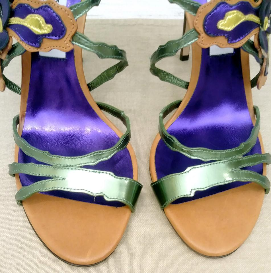 68629f8224ea Jimmy Choo Purple Lolita Canyon Mix Iris Appliquéd Metallic Sandals ...