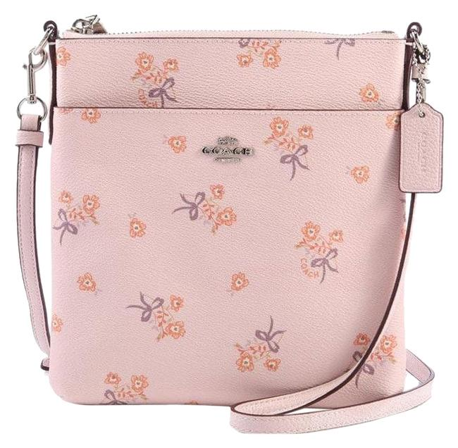 Item - Messenger Floral Bow Silver/Ice Pink Canvas Cross Body Bag