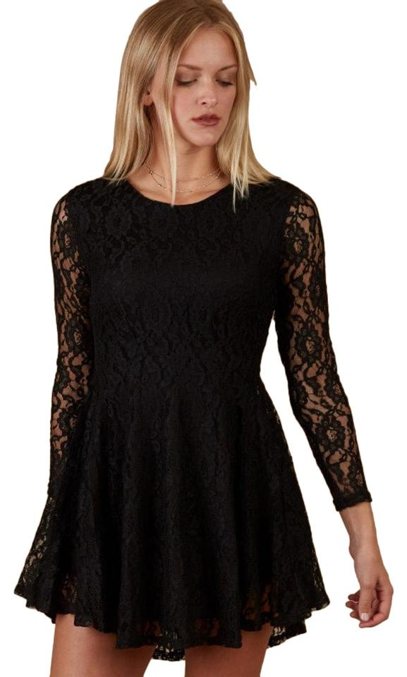 d6e16e448bc Altar d State Chocolate Brown Long Sleeve Floral Lace Skater Cocktail Dress