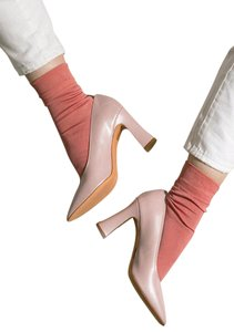 Maryam Nassir Zadeh Isa Mnz Block Heel Patent Leather champagne pink Pumps