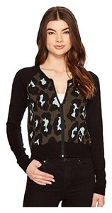 Romeo & Juliet Couture Leopard Print Crew Neck Sweater Longsleeve Black/Olive/Blue Jacket