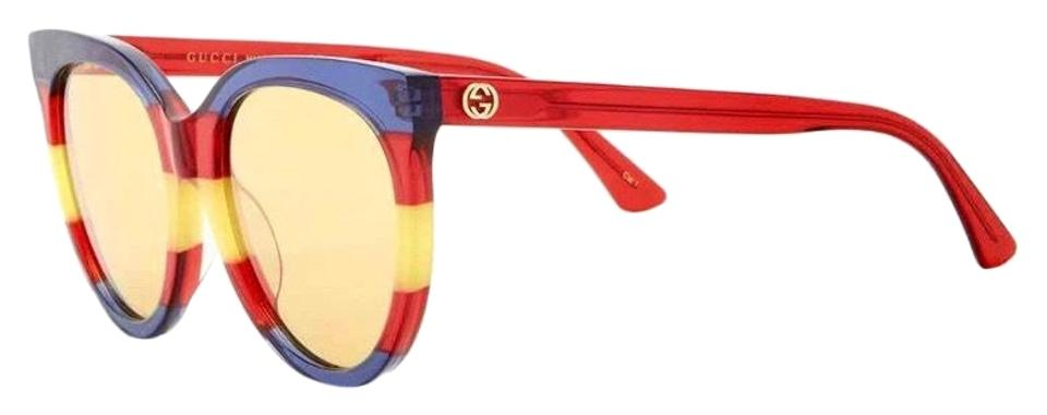 7d1de3a69de0 Gucci Red Blue Yellow 55mm Rounded Cat Eye Sunglasses - Tradesy