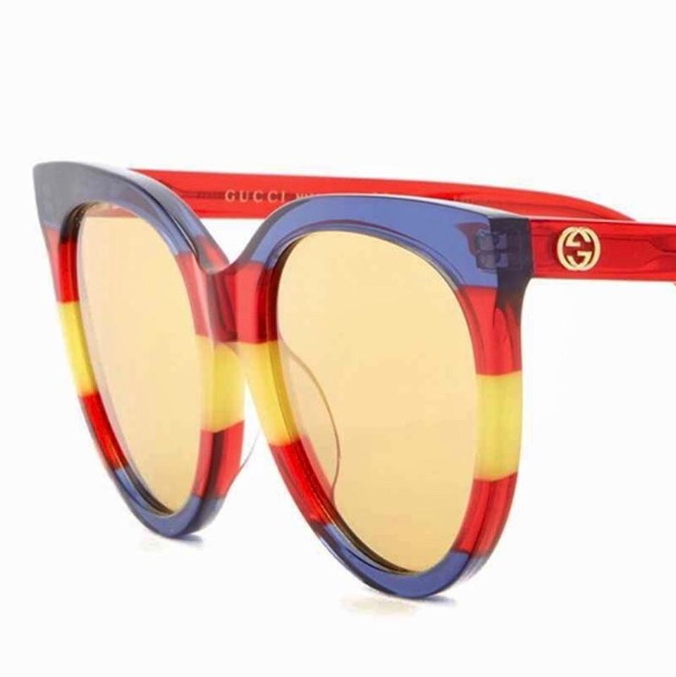 478bd481c795e Gucci Red Blue Yellow 55mm Rounded Cat Eye Sunglasses - Tradesy