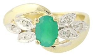 Other Chrysoprase & Diamond Bypass Ring - 14k Yellow Gold Oval N6675