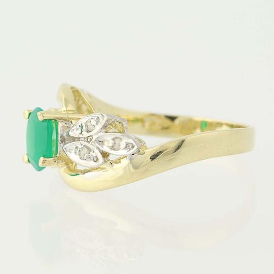 Other Chrysoprase & Diamond Bypass Ring - 14k Yellow Gold Oval N6675 Image 1