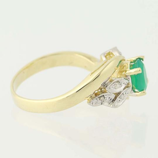 Other Chrysoprase & Diamond Bypass Ring - 14k Yellow Gold Oval N6675 Image 2