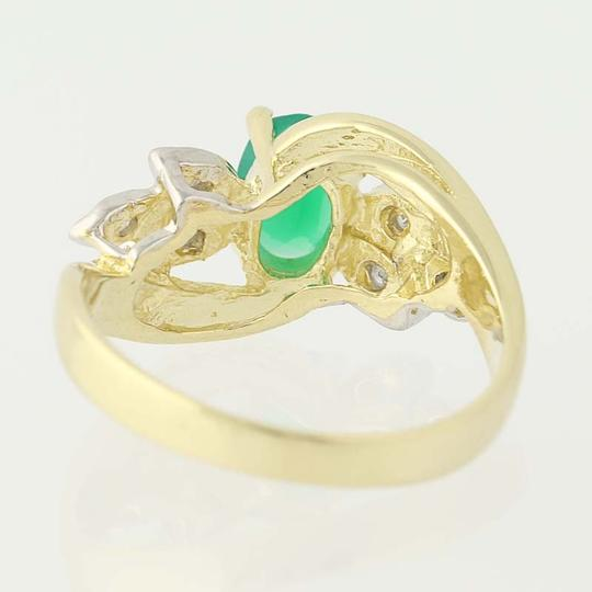 Other Chrysoprase & Diamond Bypass Ring - 14k Yellow Gold Oval N6675 Image 3
