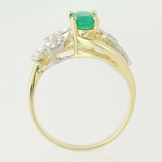 Other Chrysoprase & Diamond Bypass Ring - 14k Yellow Gold Oval N6675 Image 4