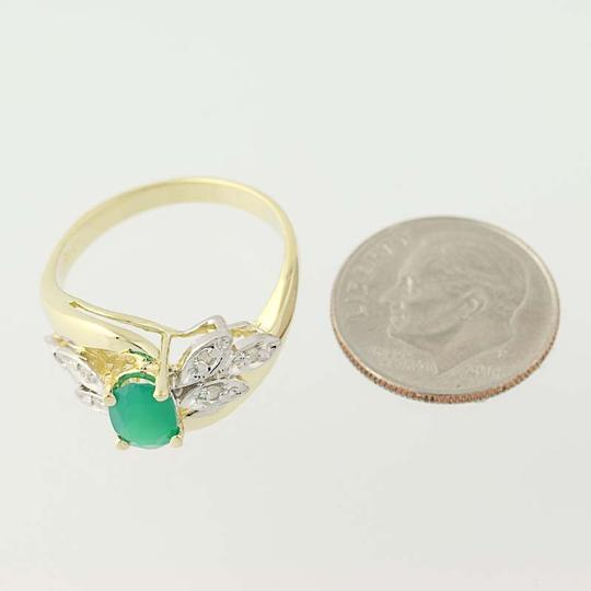 Other Chrysoprase & Diamond Bypass Ring - 14k Yellow Gold Oval N6675 Image 6