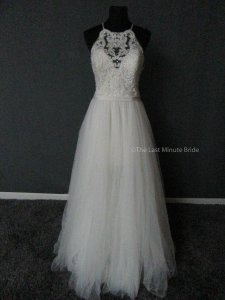 Allure Bridals Sand/Ivory/Nude/Silver Lace and Tulle 9509 Feminine Wedding Dress Size 12 (L)