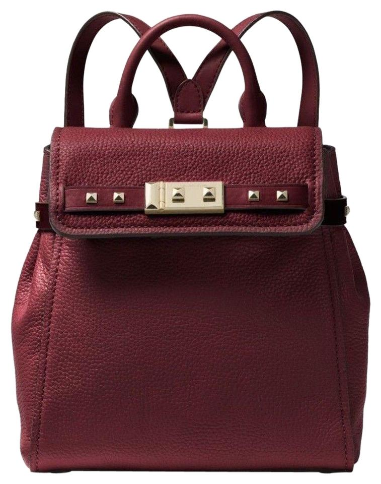 3ce193dfe901 Michael Kors Addison Small Pebbled Oxblood Gold Leather Backpack ...