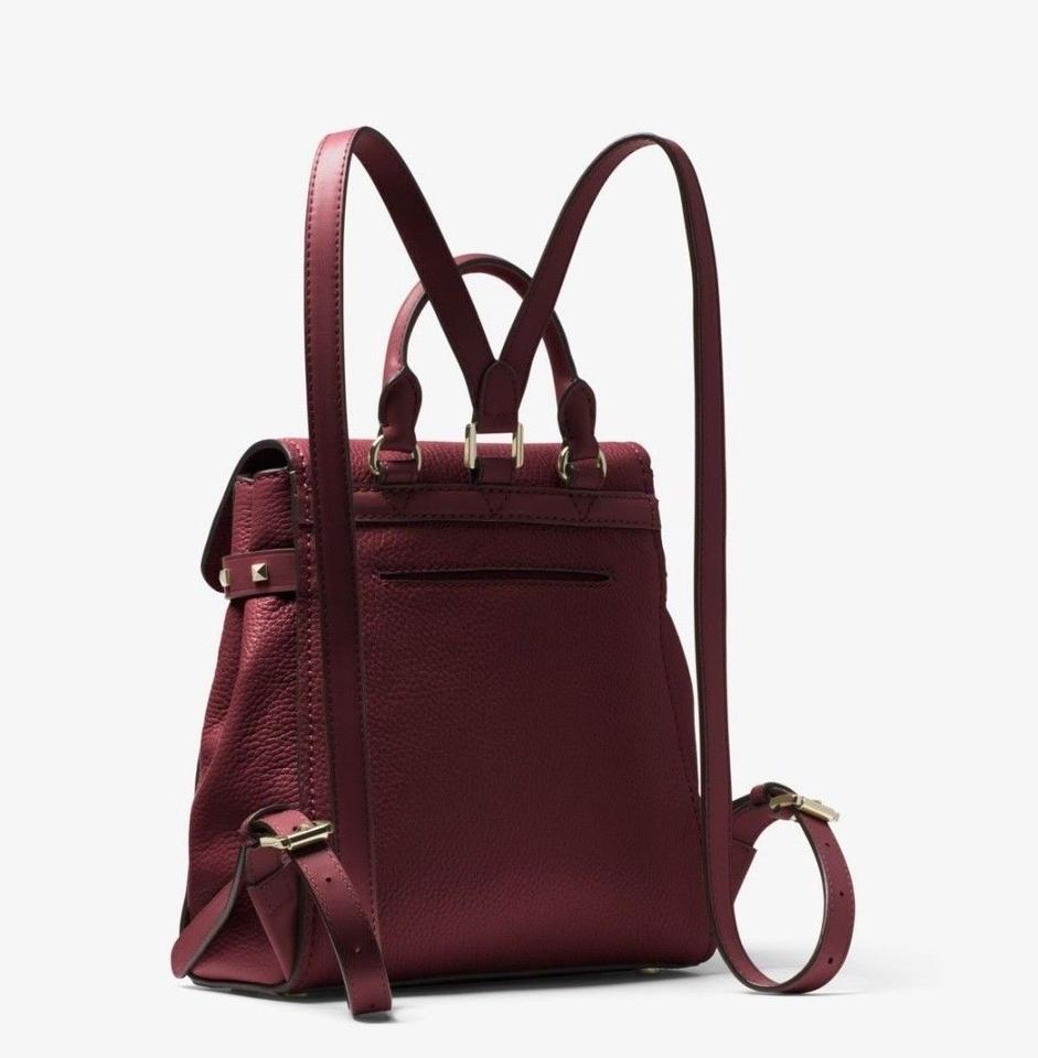 b9bf0e52a8 Michael Kors Addison Small Pebbled Oxblood Gold Leather Backpack - Tradesy