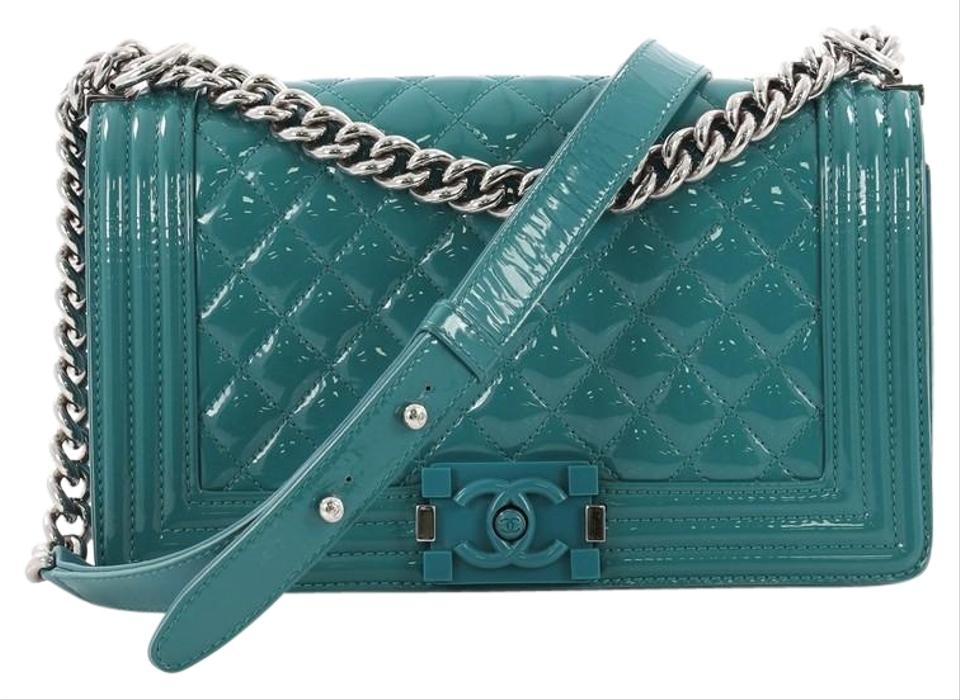 47c38c0d669c0f Chanel Classic Flap Boy Quilted Plexiglass Old Medium Turquoise Patent  Leather Shoulder Bag