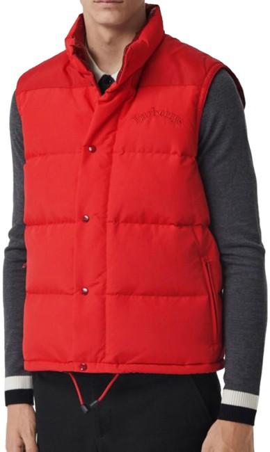 Item - Bright Red Men's Embroidered Archive Logo Down-filled Gilet Puffer ( 52uk / 42us ) Vest Size OS (one size)