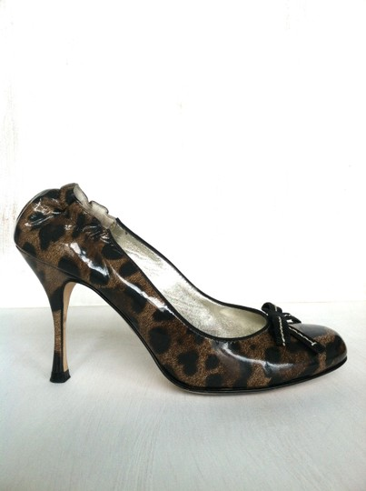 Dolce&Gabbana Dolce & Gabbana Patent Leather Stiletto Leopard (Brown and Black) Pumps Image 2