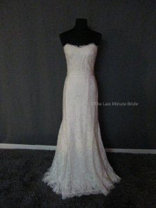 99c344ca29f63 Theia Off White Lace Heather 890044 Feminine Wedding Dress Size 12 (L)