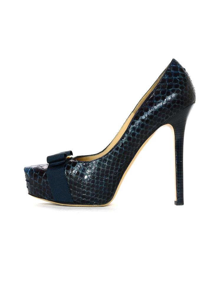 5db4d076629 Salvatore Ferragamo Navy Blue Baltic Python Trilly C Platform Pumps W  Bow  Boots Booties. Size  EU 39 ...