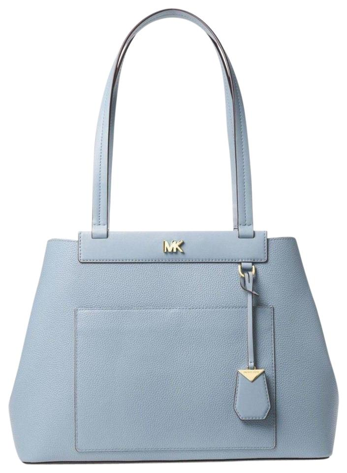 0a56dc4faac6 Michael Kors Meredith Pebbled Pale Blue Leather Tote - Tradesy
