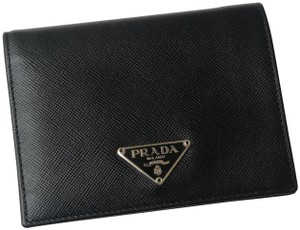 Prada Vintage Small Prada Black Leather Saffiano Continental Wallet