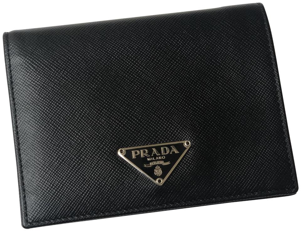 45c0b1600b0092 Prada Vintage Small Prada Black Leather Saffiano Continental Wallet Image 0  ...