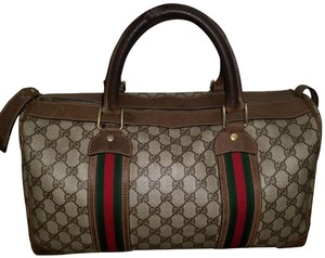 a0febd1b95458b Added to Shopping Bag. Gucci Vintage Boston Boston Keepall Speedy Duffel  Brown Travel Bag. Gucci Boston Monogram with Red Green Stripe Brown Leather  ...