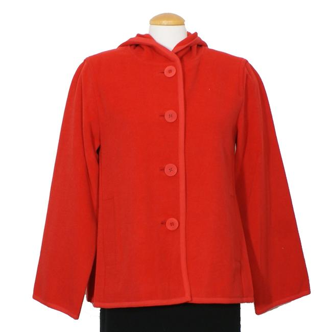 Item - Lacquer Red Wool Melton Hooded Jacket Size 10 (M)