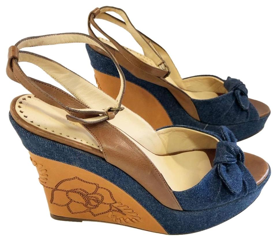 f0f1b77e770 Isabella Fiore Denim/ Cognac And Leather Ankle Strap Wedges Size US ...