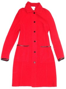 Talbots Collection Boiled Wool Wool Leather Trim Pea Coat