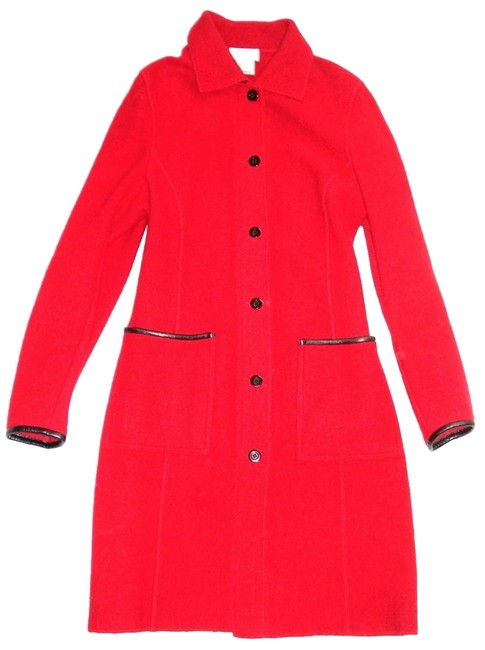 Item - Red Collection Leather Trim Felt Boiled Wool Coat Size 6 (S)