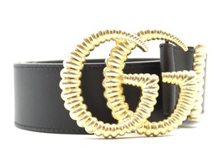 Gucci RARE Marmont GG logo textured gold buckle leather Belt Size 80 32