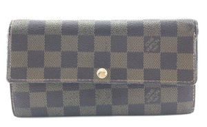 Louis Vuitton Damier Ebene Long Flap Wallet Pocket Card bill case zip zipper Sarah