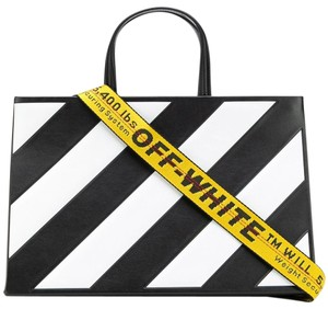 f7e64c98a Off-White™ Box Off-white Black Medium Diagonal Tote - Tradesy