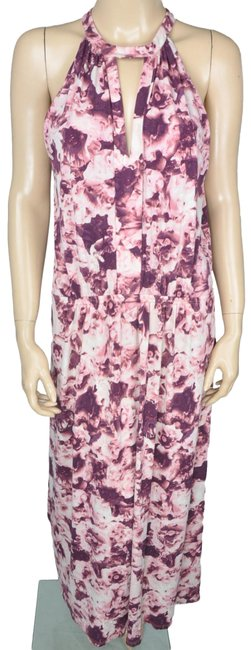 Item - Pink Bcbg White Purple Floral Stretch Long Casual Maxi Dress Size 6 (S)