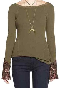 Free People Thermal Cuff Lace Crochet Sweater